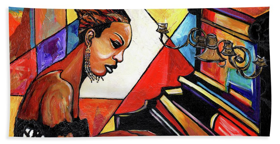 Everett Spruill Bath Towel featuring the mixed media Nina Simone by Everett Spruill