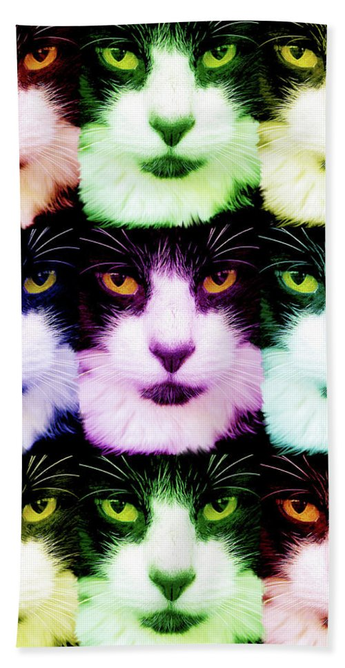 Cats Hand Towel featuring the digital art Nine Lives by Mary-Ella Bowles