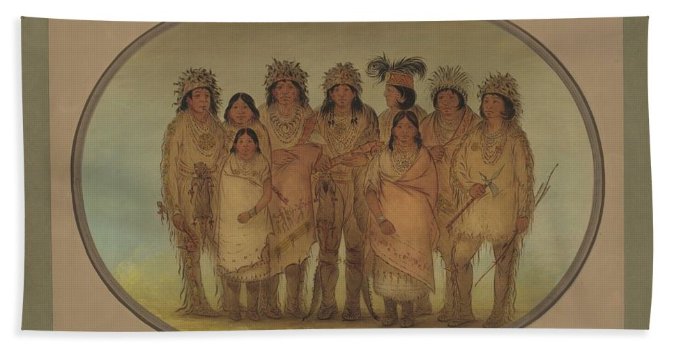 Hand Towel featuring the painting Nine Ojibbeway Indians In London by George Catlin