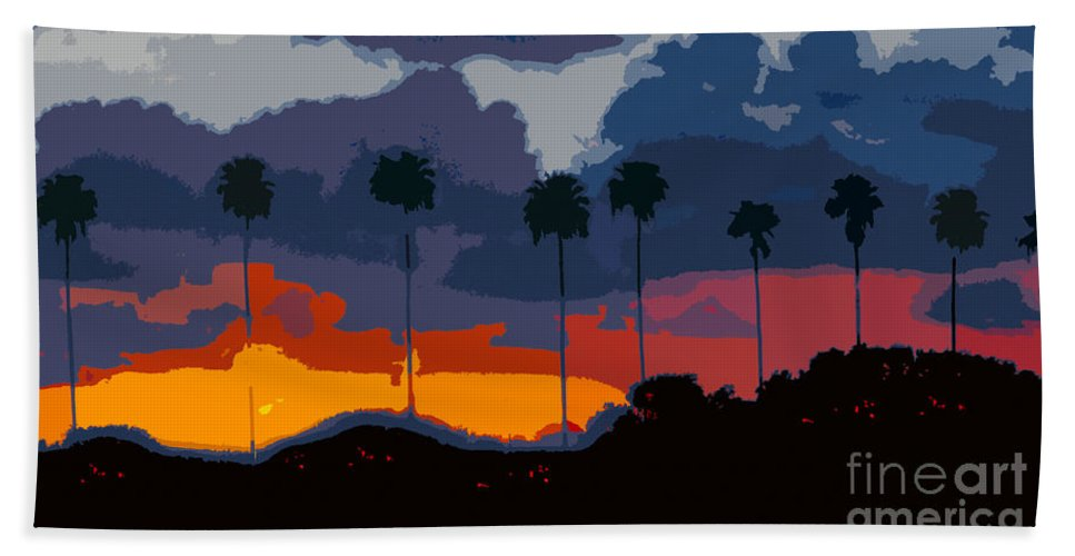 Palm Trees Bath Sheet featuring the painting Nine Palms by David Lee Thompson