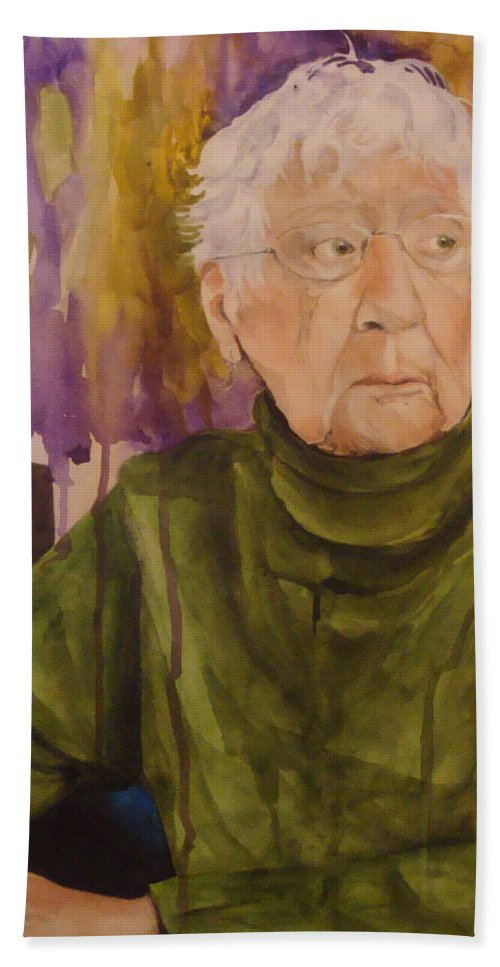 Portrait Hand Towel featuring the painting Ninety Years Young by Jean Blackmer