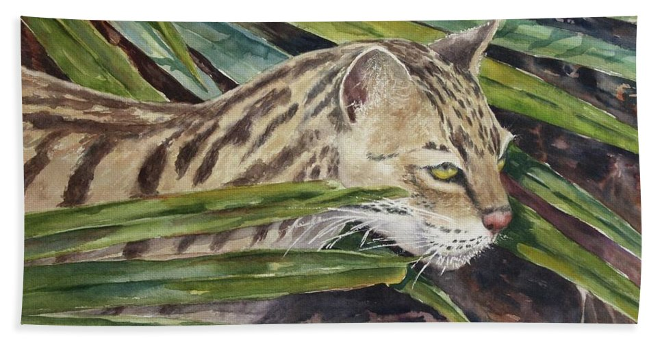 Narvana Bath Sheet featuring the painting Nirvana - Ocelot by Roxanne Tobaison