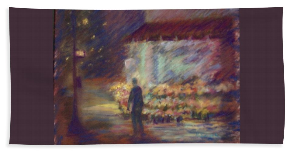 Laandscape Bath Sheet featuring the pastel Nite Flower Market by Pat Snook