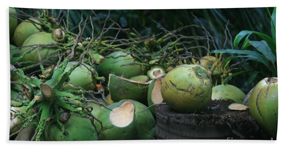 Niu Hand Towel featuring the photograph Niu Hawaiian Coconuts Hooululahui Kahekilinui Wailuku by Sharon Mau