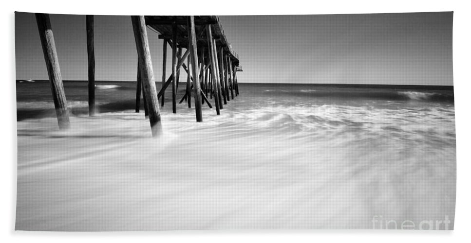 Ocean Hand Towel featuring the photograph Nj Shore In Black And White by Paul Ward