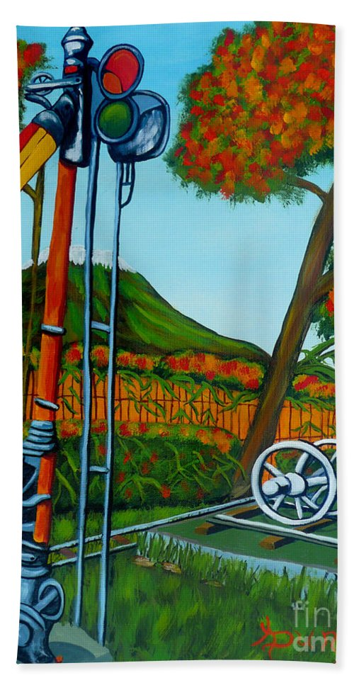 Train Hand Towel featuring the painting No More Trains by Anthony Dunphy
