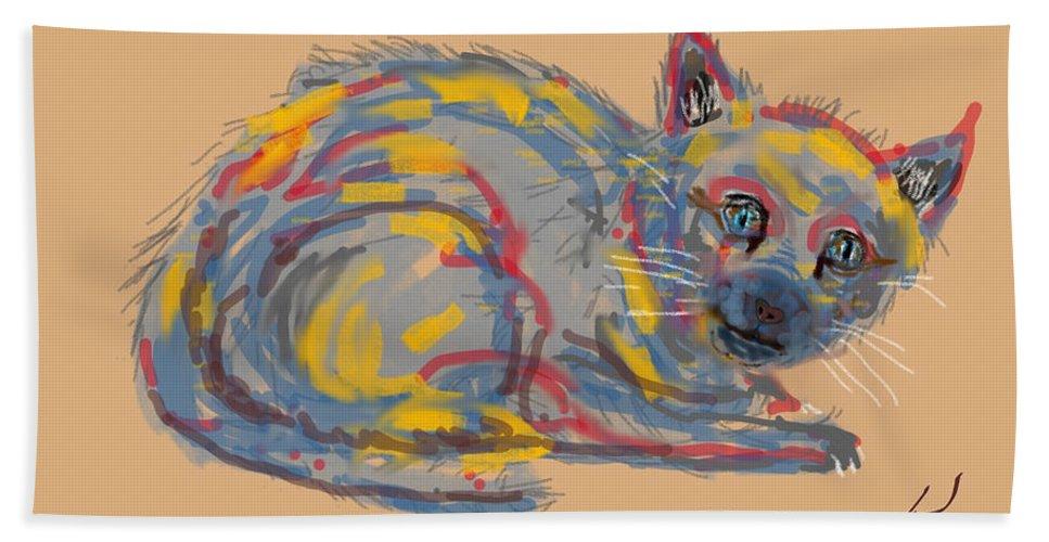Homeless Cat Modern Art Colors Bath Sheet featuring the digital art No Name Cat by David R Keith