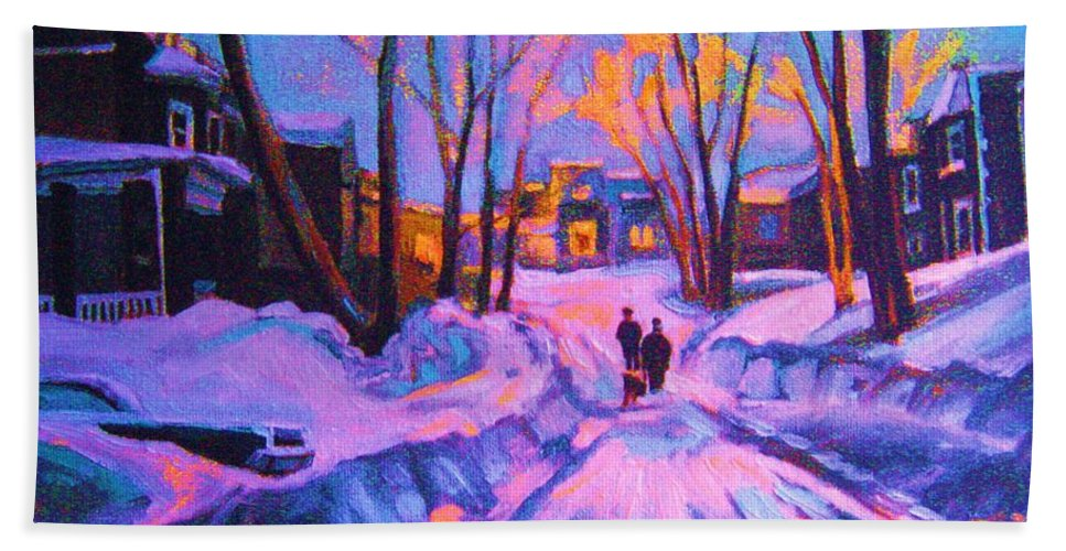 Winterscene Bath Sheet featuring the painting No Sidewalks by Carole Spandau