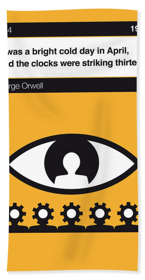 George Hand Towel featuring the digital art No008 My 1984 Book Icon Poster by Chungkong Art