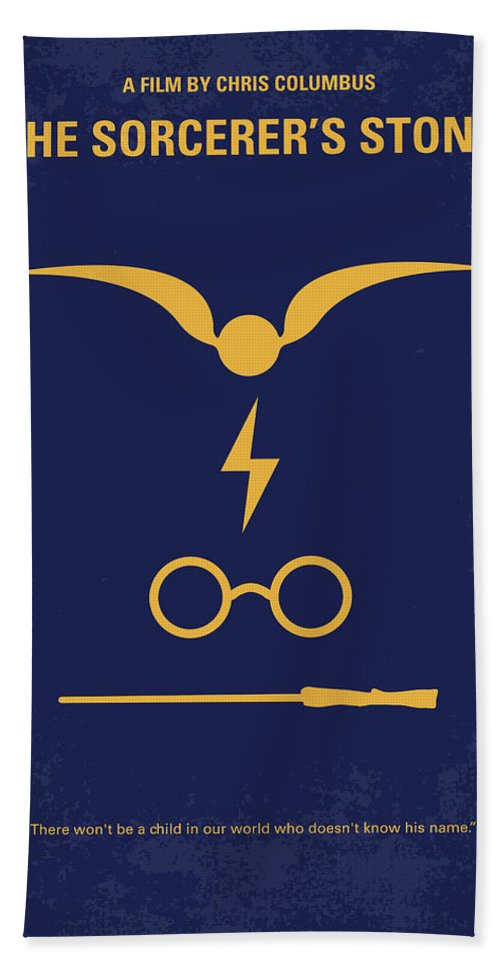 Sorcerers Bath Towel featuring the digital art No101-1 My Hp - Sorcerers Stone Minimal Movie Poster by Chungkong Art