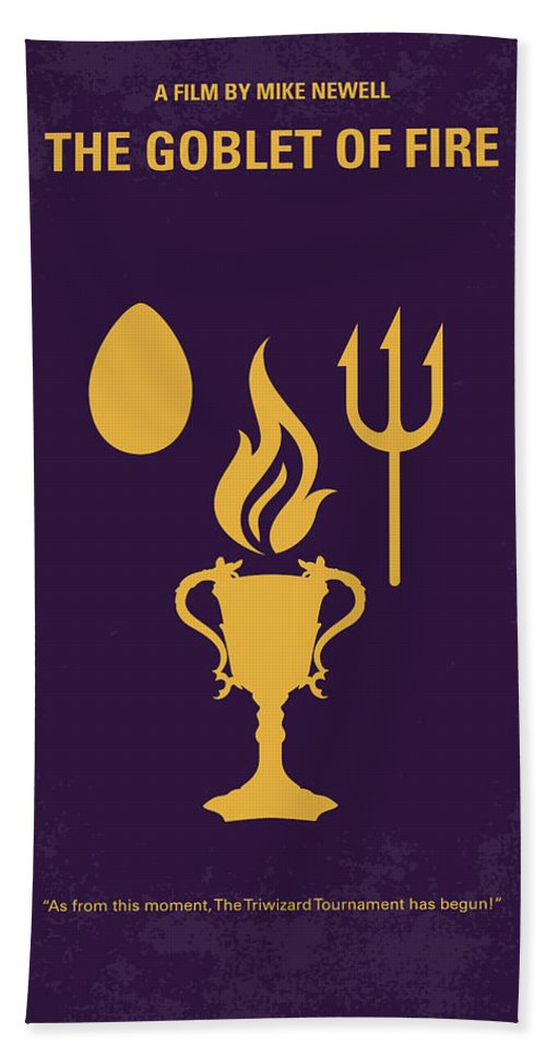Goblet Hand Towel featuring the digital art No101-4 My Hp - Goblet Of Fire Minimal Movie Poster by Chungkong Art