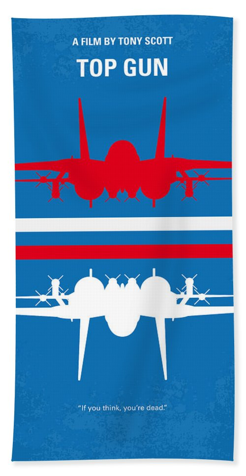 Top Bath Towel featuring the digital art No128 My Top Gun Minimal Movie Poster by Chungkong Art