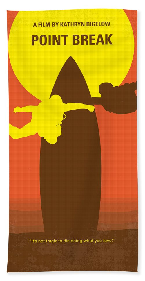 Point Hand Towel featuring the digital art No455 My Point Break minimal movie poster by Chungkong Art