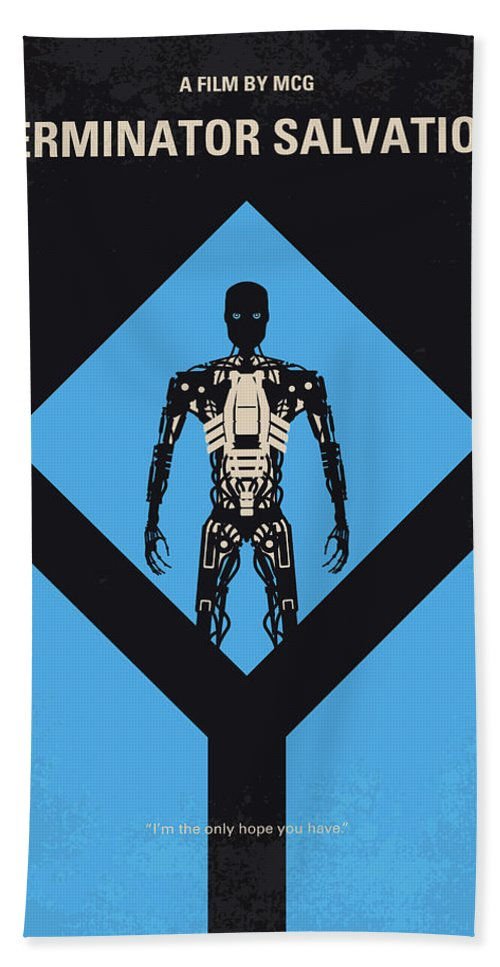 Terminator Bath Towel featuring the digital art No802-4 My The Terminator 4 Minimal Movie Poster by Chungkong Art