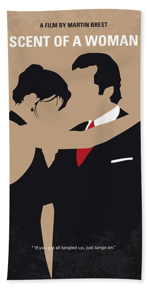 Scent Hand Towel featuring the digital art No888 My Scent Of A Woman Minimal Movie Poster by Chungkong Art