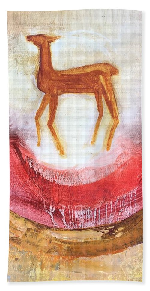 Deer Bath Towel featuring the painting Noble Deer by Suzanne Cerny