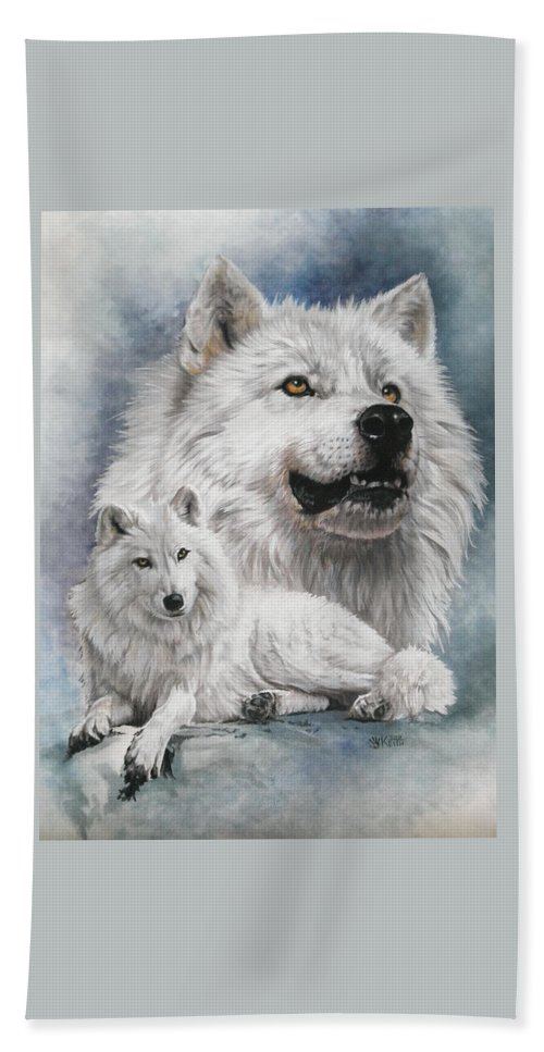 Wolf Hand Towel featuring the mixed media Noble Intensity by Barbara Keith