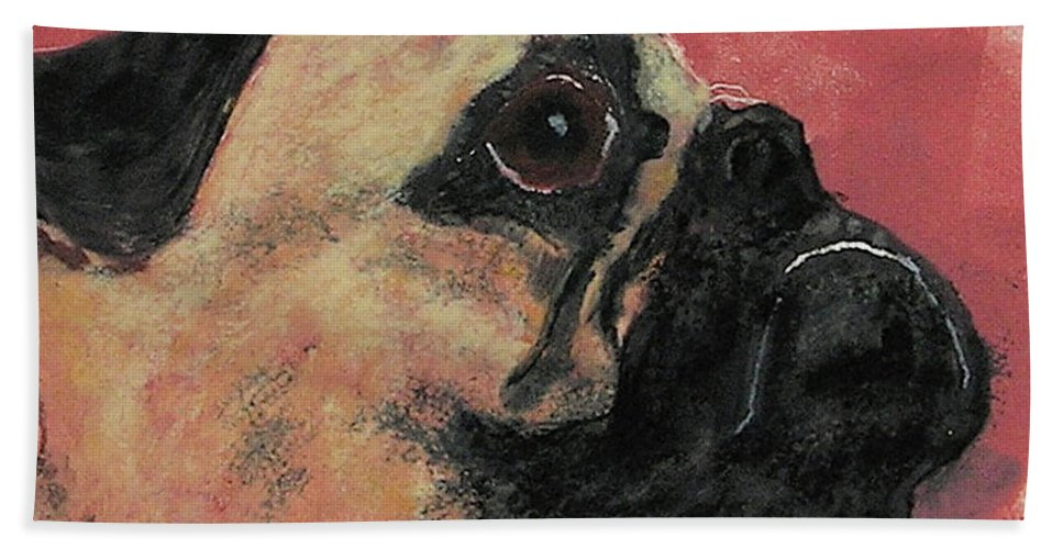 Pug Bath Towel featuring the mixed media Noble Intentions by Cori Solomon