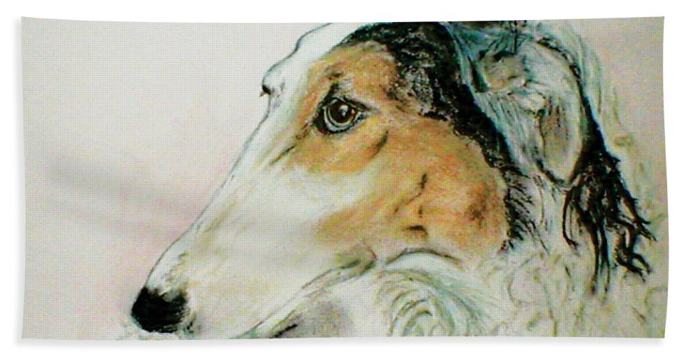 Borzoi Hand Towel featuring the drawing Noble Scrutiny by Cori Solomon
