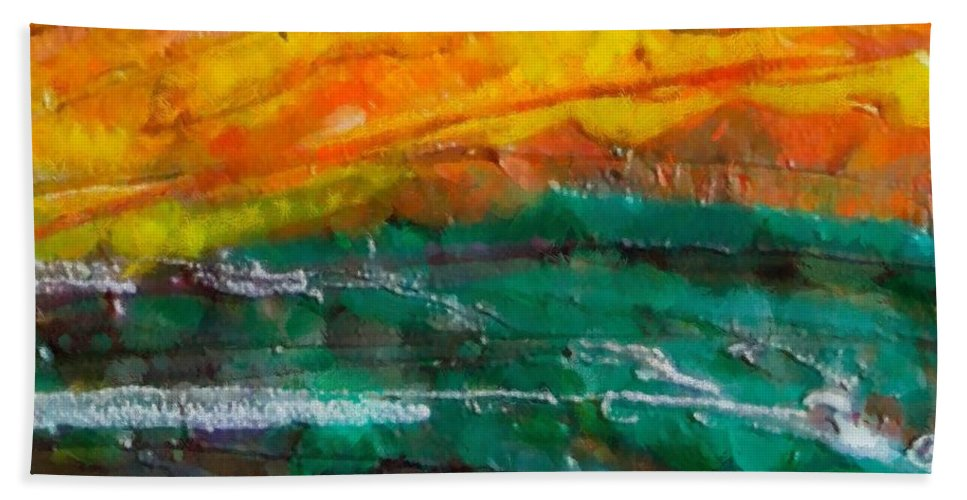 Nobody Landscape Hand Towel featuring the painting Nobody Landscape by Dragica Micki Fortuna