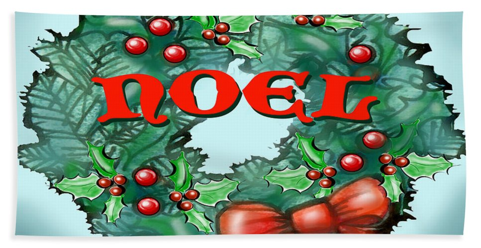 Noel Bath Sheet featuring the greeting card Noel by Kevin Middleton