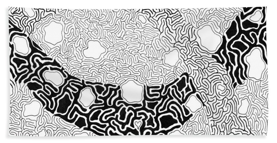Abstract Bath Sheet featuring the drawing Noetic by Steven Natanson