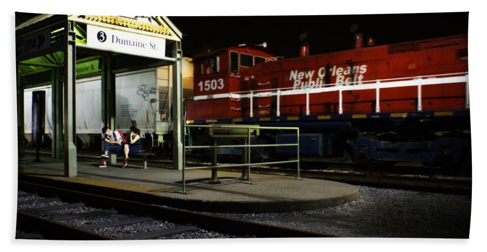 Nola Hand Towel featuring the photograph New Orleans Train Stop by LuAnn Griffin