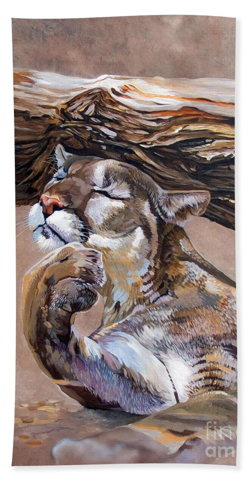 Catamount Hand Towel featuring the painting Nonchalant by J W Baker