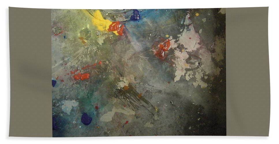 Yellows Blues Bath Sheet featuring the painting Nonrepresentational Color Study by Robin Miller-Bookhout