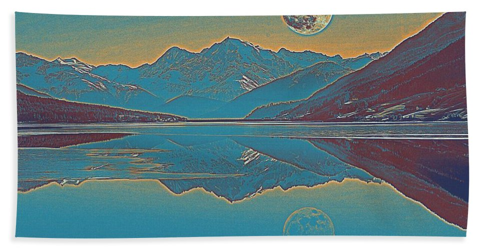 Nature Bath Sheet featuring the painting Nordic Landscape by Celestial Images