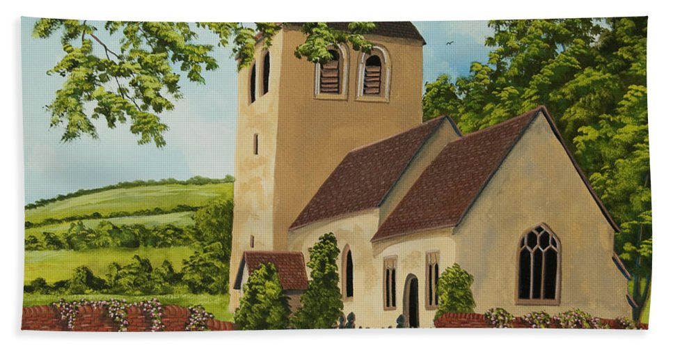Church Hand Towel featuring the painting Norman Church In Fingest by Charlotte Blanchard