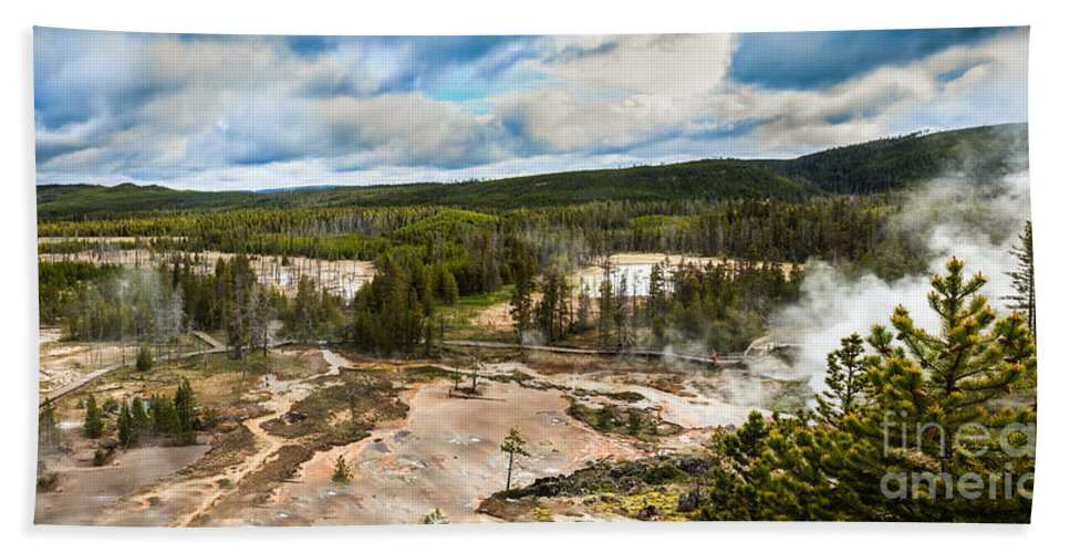 Yellowstone Hand Towel featuring the photograph Norris Geyser Basin by Robert Bales