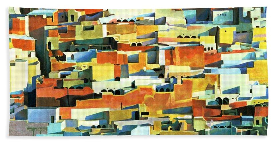 Town; Urban; Flat Roofs; Roof; Africa; Moorish Architecture; African; Townscape; North Africa; Colorful; House; Houses Hand Towel featuring the painting North African Townscape by Robert Tyndall