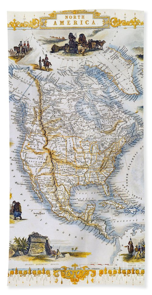 1851 Hand Towel featuring the photograph North American Map, 1851 by Granger