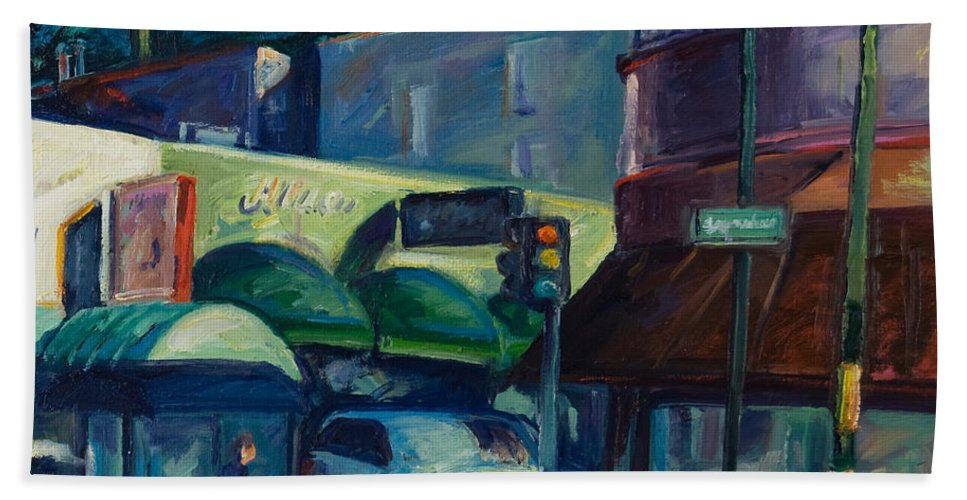Cityscape Bath Sheet featuring the painting North Beach by Rick Nederlof