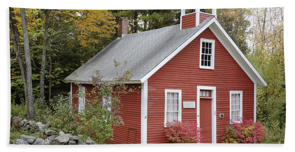 New Hampshire Bath Sheet featuring the photograph North District School House - Dorchester New Hampshire by Erin Paul Donovan