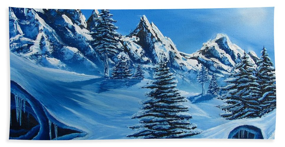 Blue Winter Landscape Canvas Prints Painting Nature Mountains Canvas Prints Blue Ice Cave Painting Prints Blue Mountains Paintings Monochromatic Blue Landscape Paintings Bizarre Paintings Strange Paintings Erie Paintings Odd Paintings Odd Art Sky Face North Face Of Winter Weird Paintings Blue Pine Trees Blue Spruce Paintings Blue Trees Blue Art Fine Art Blue Peaks Blue Range Blue Snow Blue Snowscapes Blue Winterscapes Coldscapes Blue Sky Paintings Hand Towel featuring the painting North Face by Joshua Bales