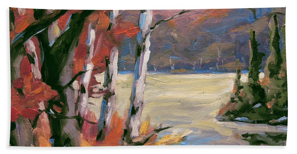 Art Bath Towel featuring the painting North Lake By Prankearts by Richard T Pranke
