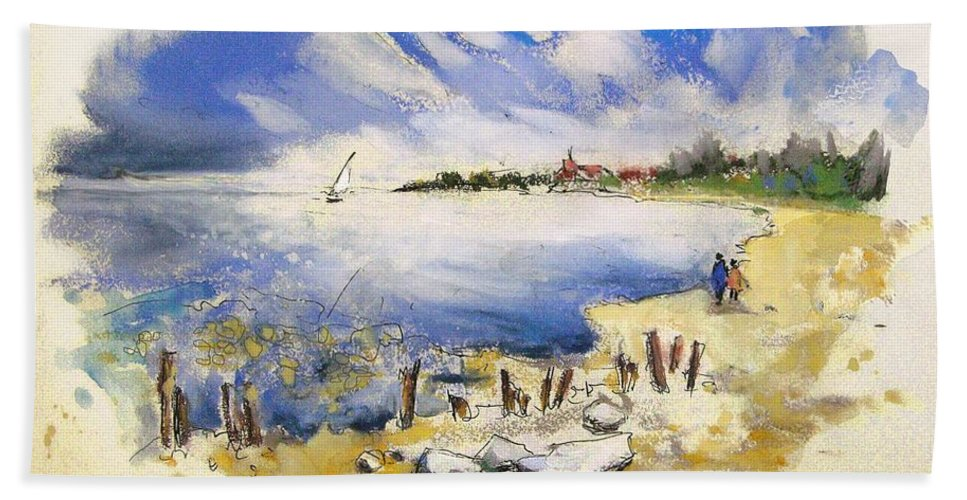 France Bath Sheet featuring the painting North Of France 02 - The Coast by Miki De Goodaboom