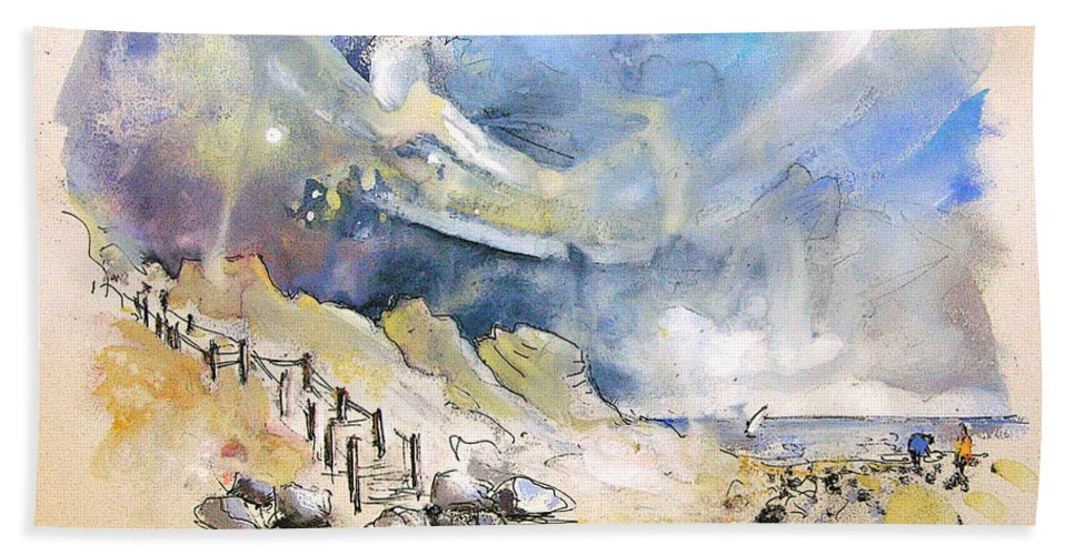 France Bath Sheet featuring the painting North Of France 03 - The Coast by Miki De Goodaboom