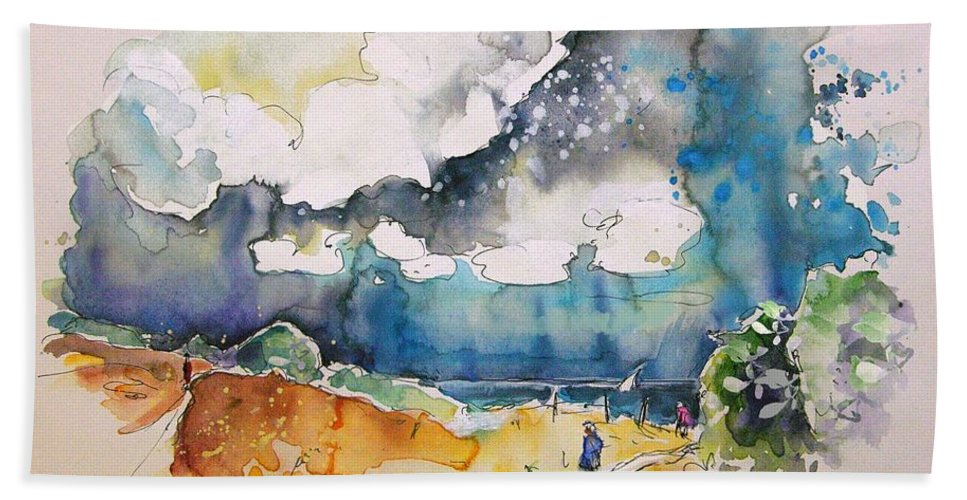 France Bath Sheet featuring the painting North Of France 04 by Miki De Goodaboom
