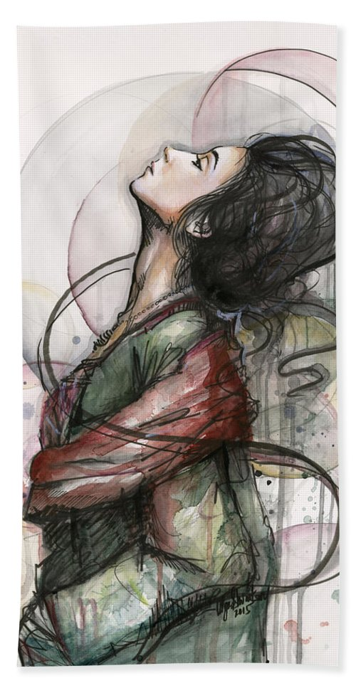 Watercolor Bath Towel featuring the painting Beautiful Lady by Olga Shvartsur