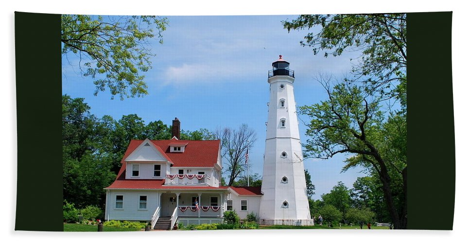 Lighthouse Hand Towel featuring the photograph North Point Lighthouse by Anella Harmeyer