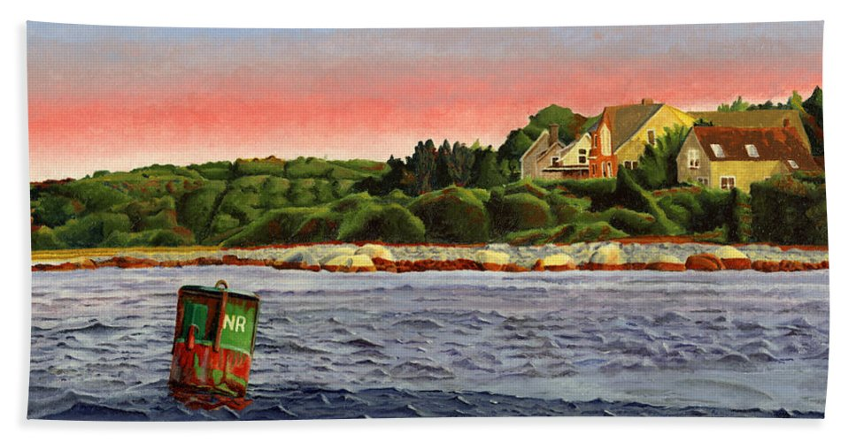 River Bath Towel featuring the painting North River At Sunset by Dominic White