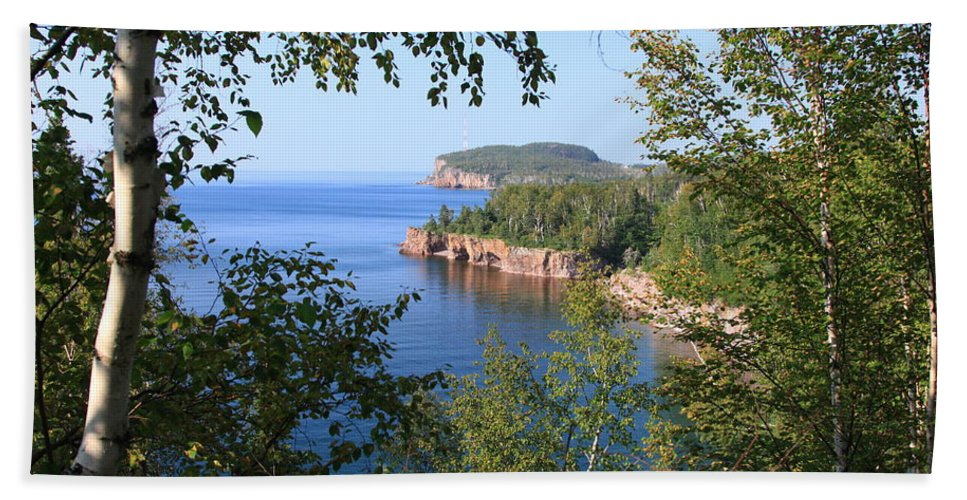 Lake Blue Water Shore Lake Superior Shoreline Minneosta Nature Park Bath Sheet featuring the photograph North Shore Lake Superior by Shari Jardina