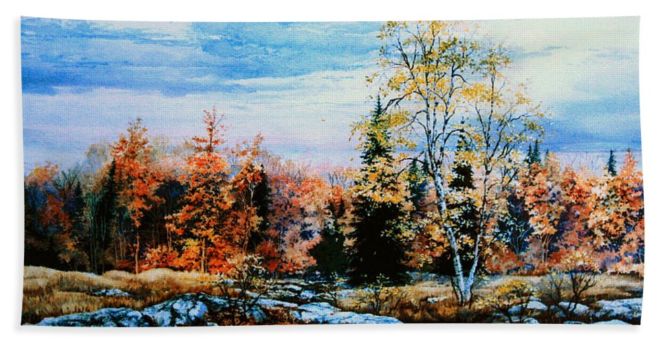 Northern Gold Painting Hand Towel featuring the painting Northern Gold by Hanne Lore Koehler