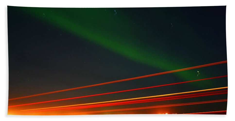 Northern Lights Hand Towel featuring the photograph Northern Lights by Anthony Jones
