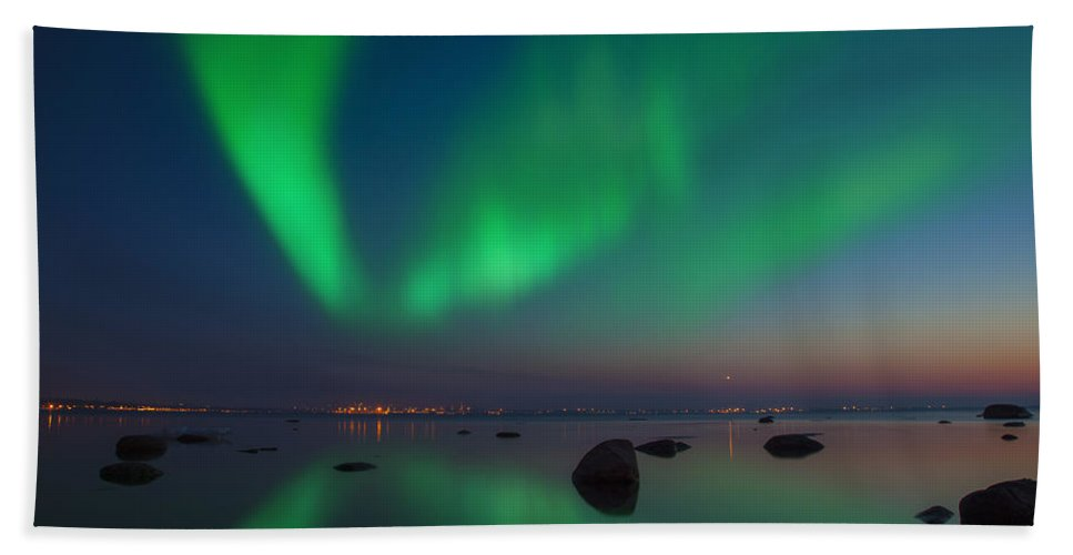 Astronomy Bath Sheet featuring the photograph Northern Lights Aurora Borealis In Northern Europe by Sandra Rugina
