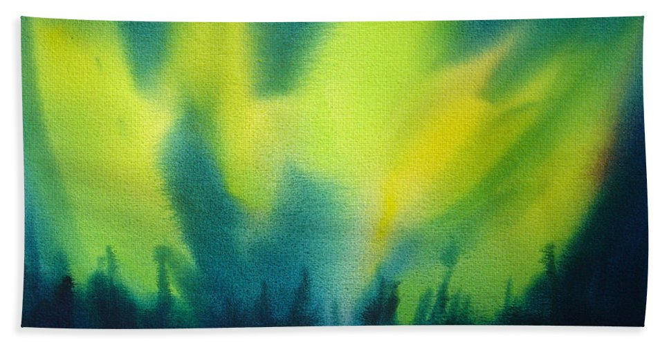 Paintings Hand Towel featuring the painting Northern Lights I by Kathy Braud