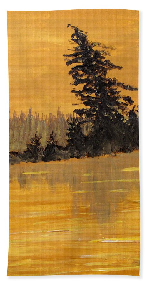 Northern Ontario Hand Towel featuring the painting Northern Ontario Three by Ian MacDonald